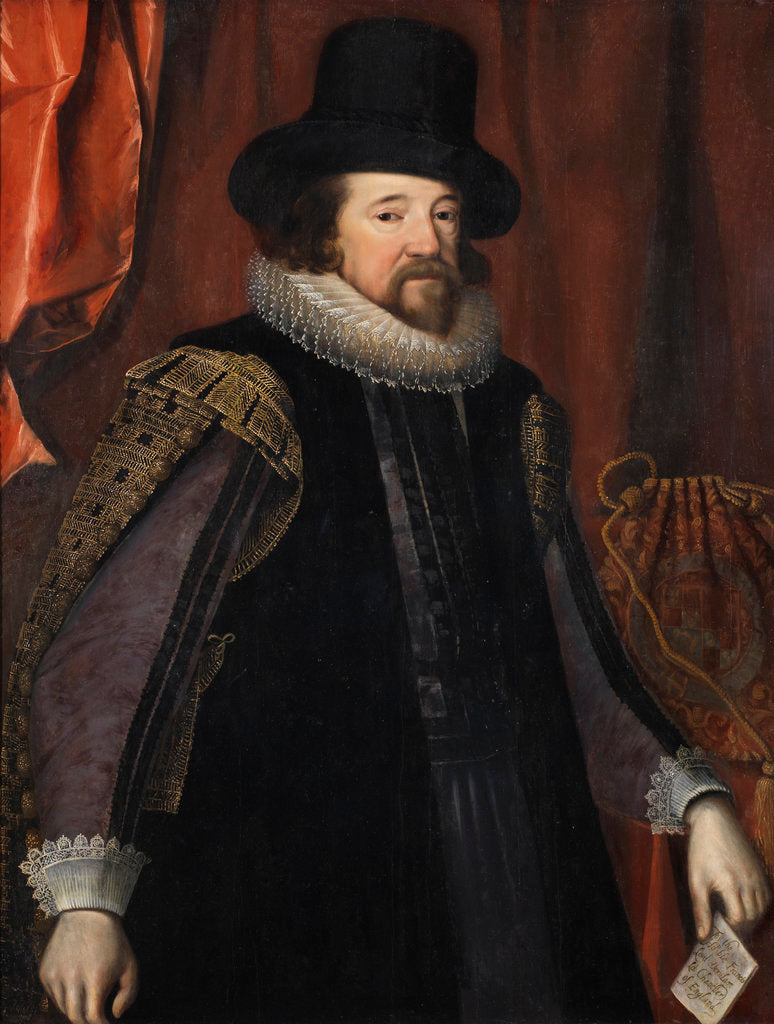 Detail of Portrait of Francis Bacon (1561-1626) by Studio of Paulus van Somer I