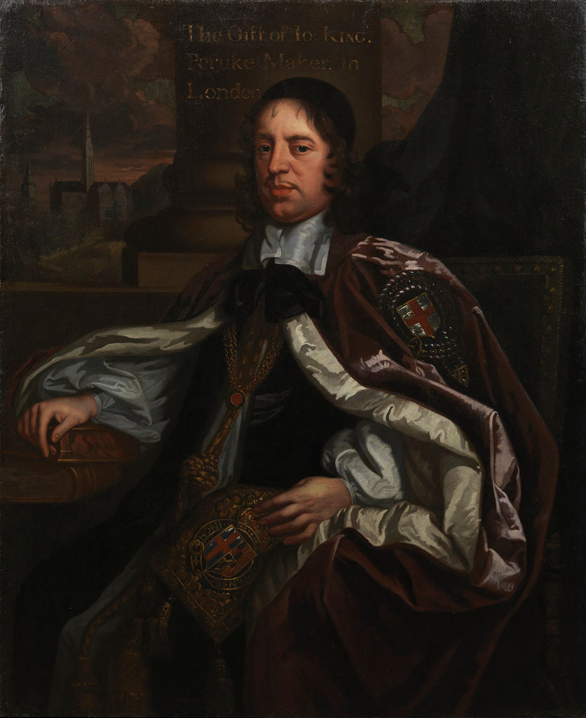 Detail of Portrait of Seth Ward (1617-1689) by John Greenhill