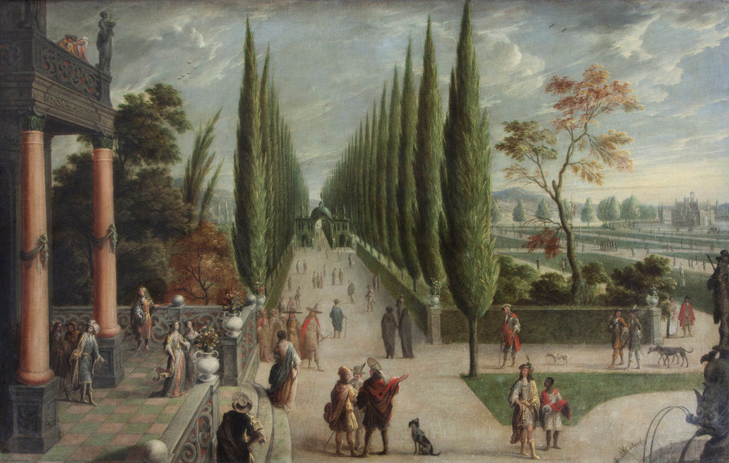 Detail of Italian-style garden landscape by Anonymous