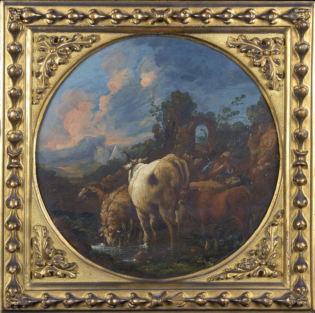 Detail of Rustic landscape with shepherd and animals by Philipp Peter Roos