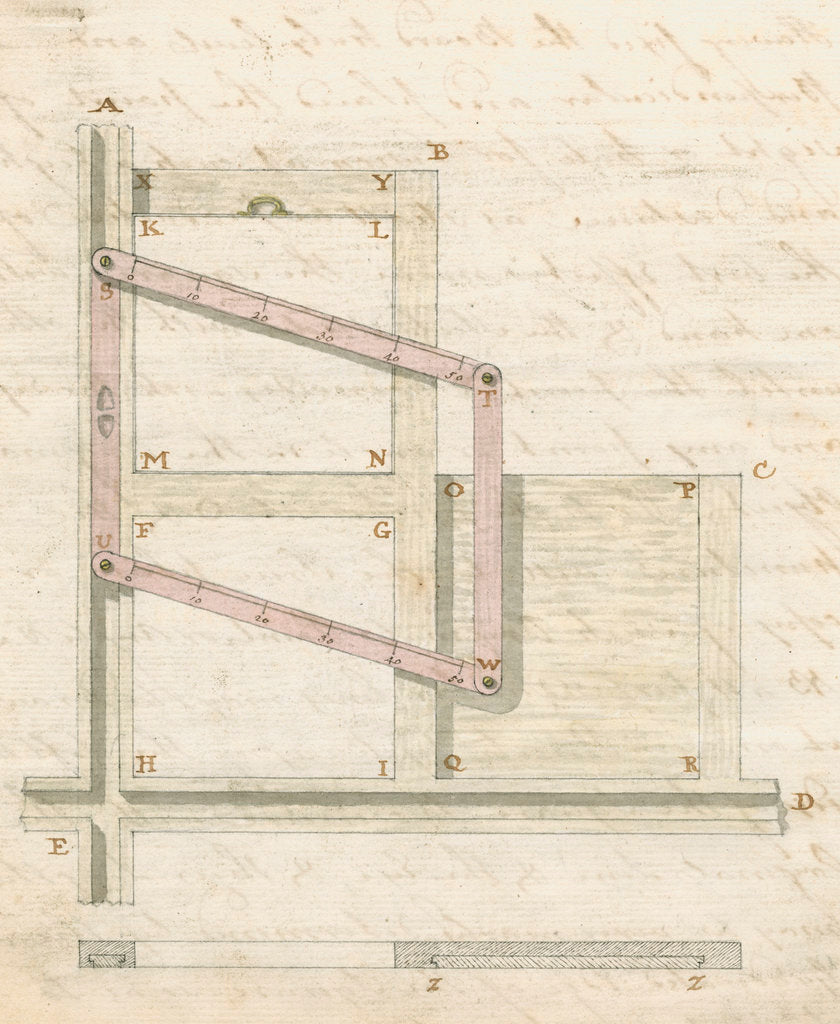 Detail of Instrument for perspective drawing by James Peacock