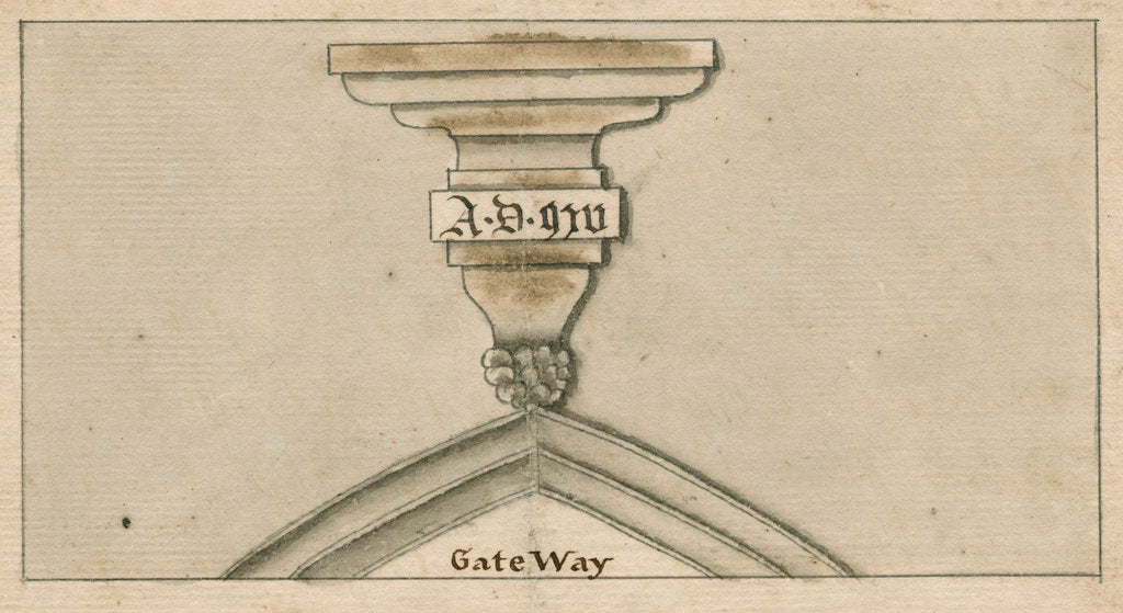 Detail of Date inscription on a gateway in Worcester by John Cope