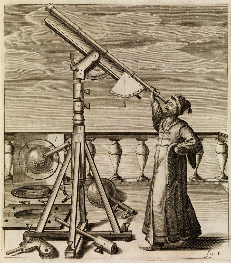 Detail of Johannes Hevelius observing through telescope by Johannes Hevelius