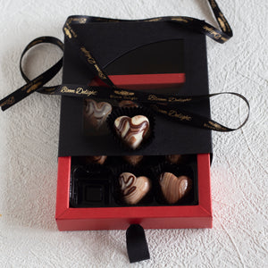 Marbled Coffee Chocolate Heart Bonbons
