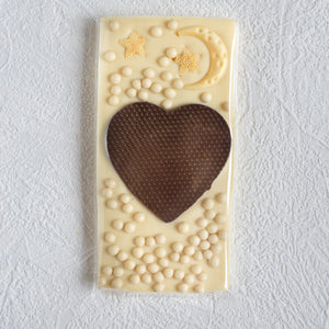 Handcrafted white chocolate artisan bar.