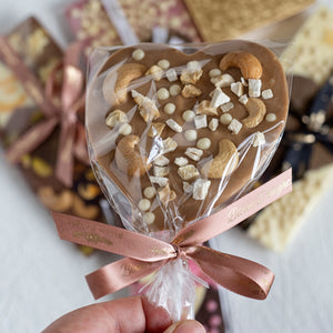 Gold Chocolate Heart Pop With Nuts