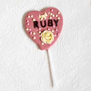 Personalised Artisan Ruby Chocolate Heart Pop