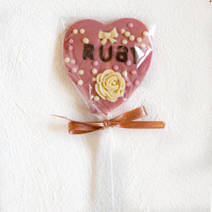 ruby chocolate artisan candy heart pop personalised
