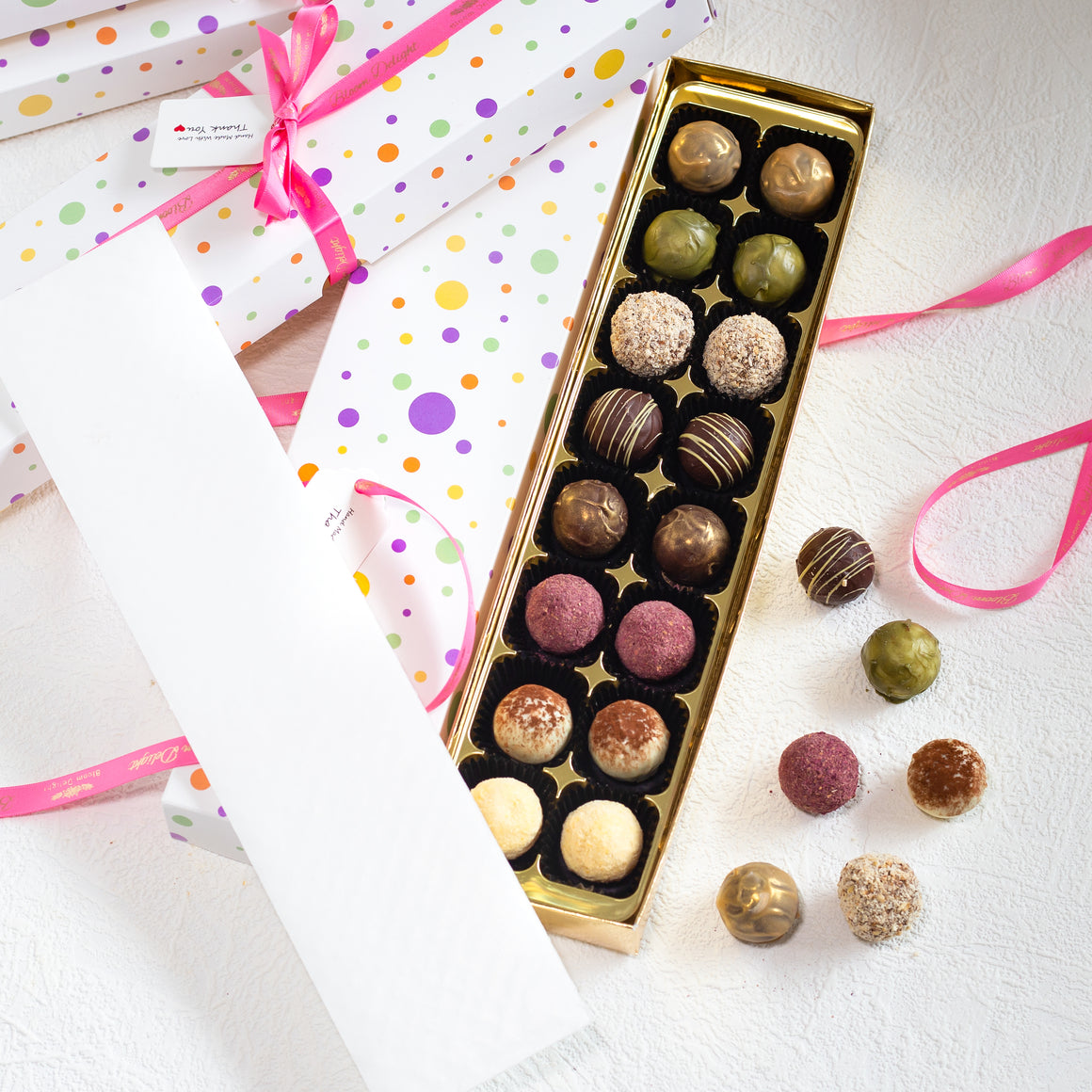 Celebration luxury chocolate truffles.
