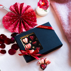Romantic luxury chocolate heart box handcrafted in uk