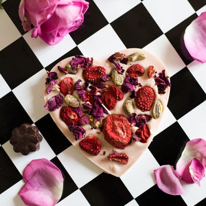 handmade belgian artisan heart chocolate with strawberries, nuts and roses