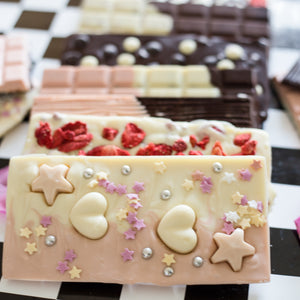 white and pink gourmet chocolate princess bar birthday, wedding gift.