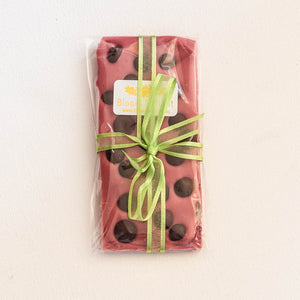 Bloom Delight Ruby Chocolate Bar with dark chocolate