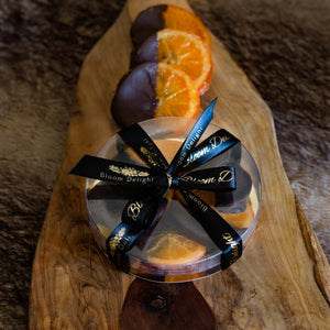 chocolate-dipped orange slices by bloom delight
