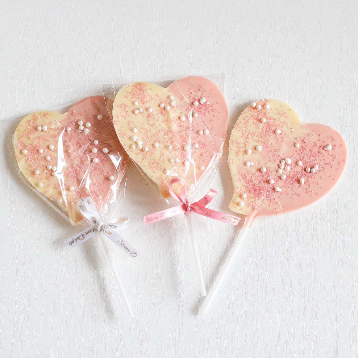 Pink and white heart chocolate favour baby shower
