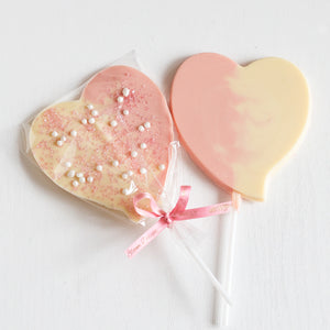 handcrafted premium Belgian chocolate heart favours pops