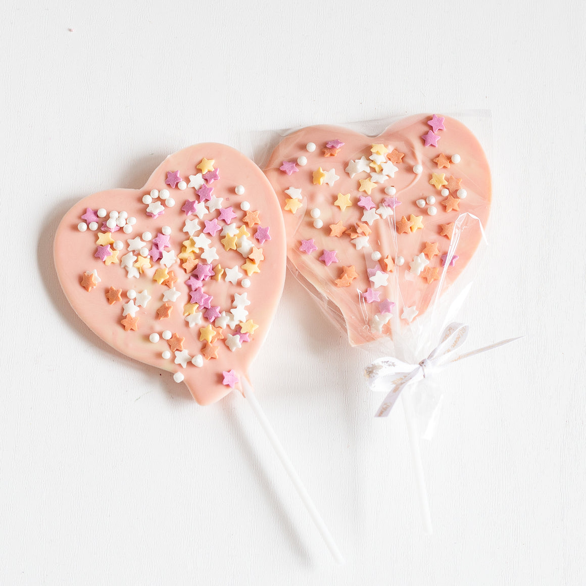 Baby shower artisan pink heart candy pop