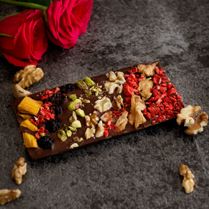 Bloom delight handmade super food Belgian chocolate bar with fruits and nuts free uk delivery
