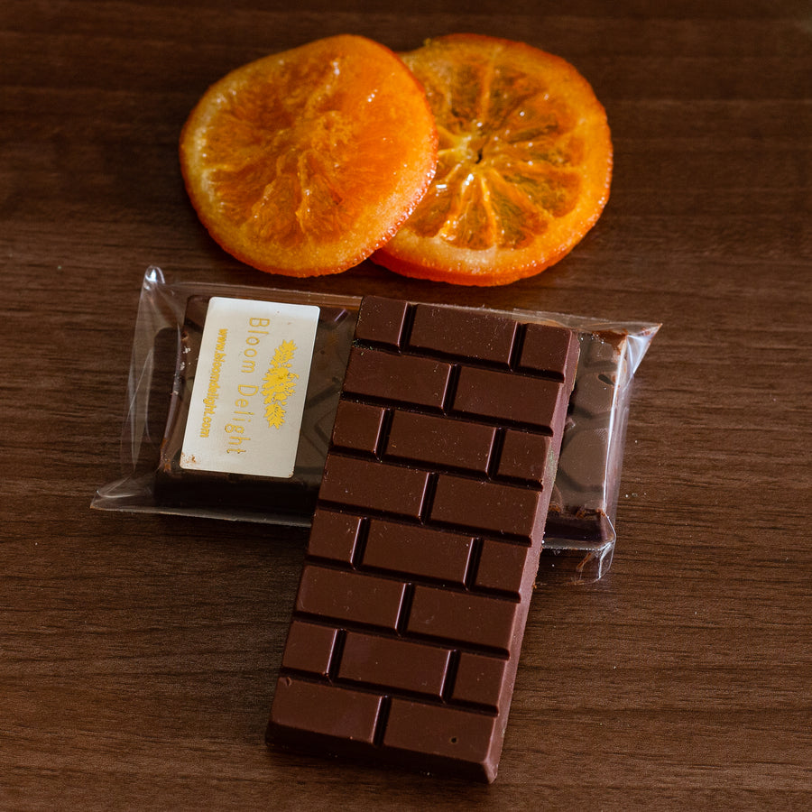 Bloom Delight vegan sugar free  free from dark orange chocolate