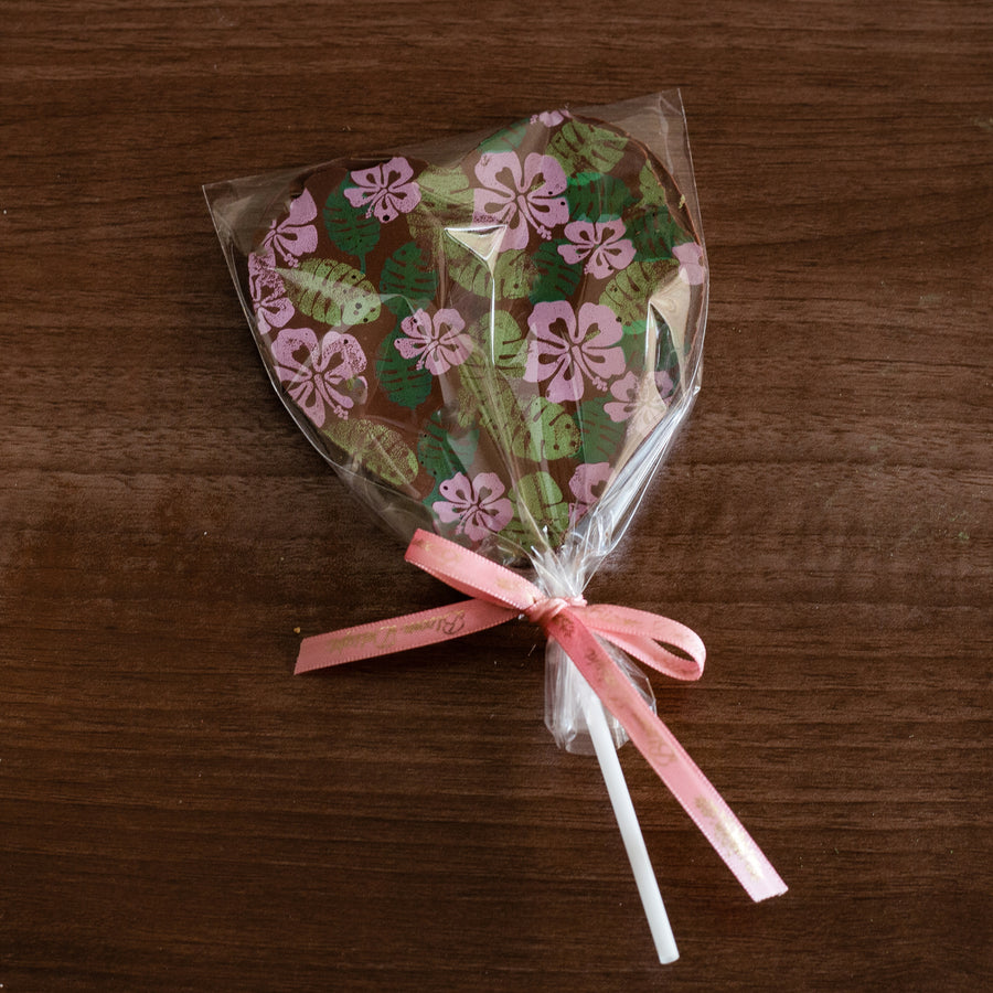 artisan chocolate heart candy pops favours florals vegan sugar free