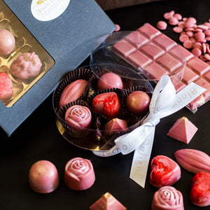 Ruby Chocolate selection box with matcha and fillings praline free uk delivery.