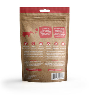 True Raw Choice dehydrated beef lung treats for dogs and cats (back of packaging).