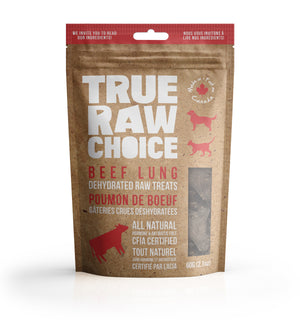 True Raw Choice dehydrated beef lung treats for dogs and cats (front of packaging).