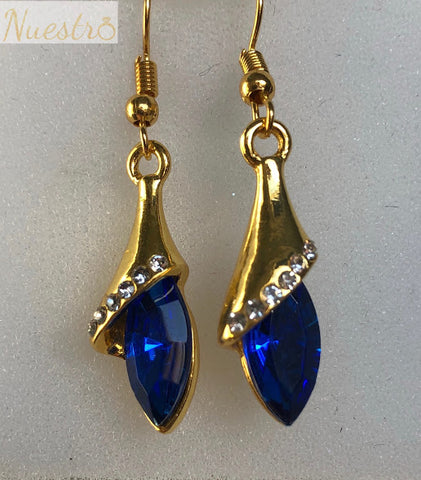 Crystal Drop Sapphire Blue Earrings