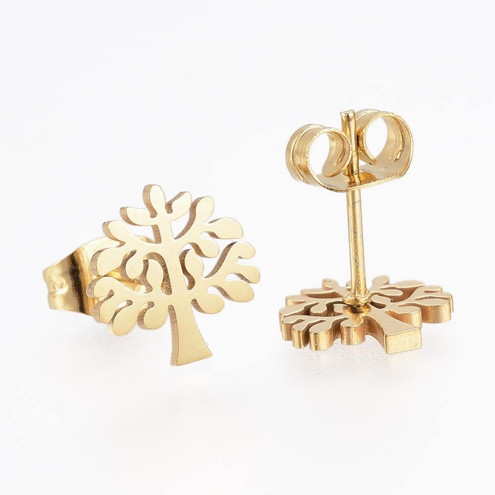 GOLD TREE OF LIFE STUD - E002 - HYPOALLERGENIC EARRINGS