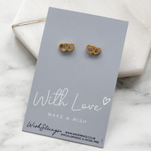 Load image into Gallery viewer, GOLD DOUBLE HEART STUDS - E004 - HYPOALLERGENIC EARRINGS - WishStrings