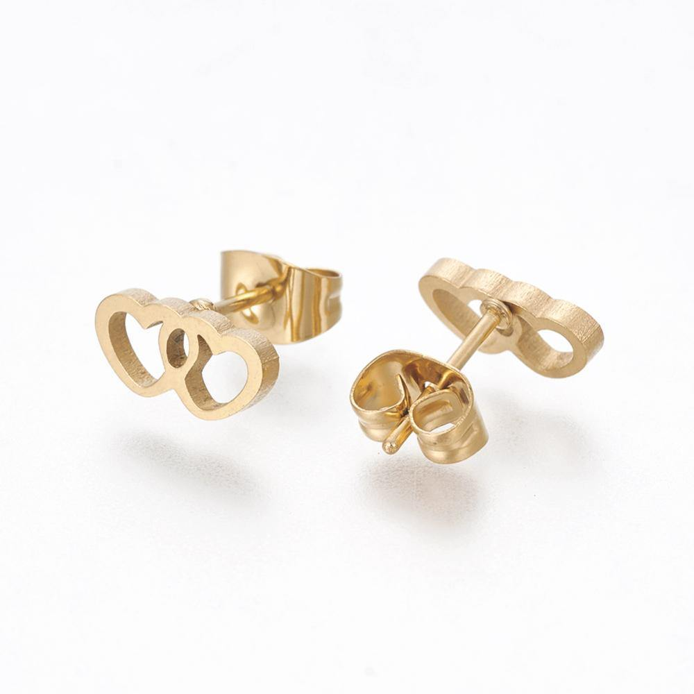 GOLD DOUBLE HEART STUDS - E004 - HYPOALLERGENIC EARRINGS - WishStrings