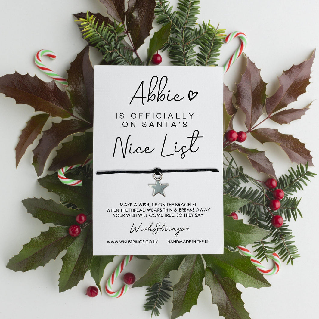 CHRISTMAS NICE LIST - PERSONALISED WISHSTRING
