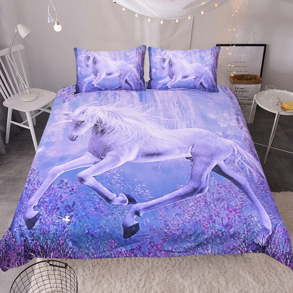Purple Unicorn Bedding Set Printed Quilt Cover Floral Scenic Bed Set  3 Piece ...