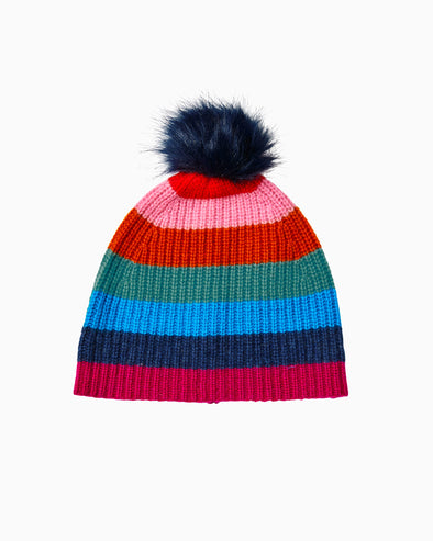 Multi Stripe Beanie with Pom Pom