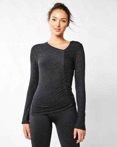 Asymmetrical Ruched Long Sleeve