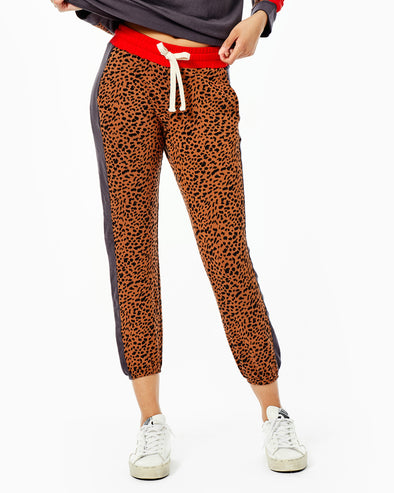 Supersoft Fleece Paneled Mini Leopard Sporty Sweat