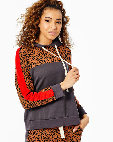 Supersoft Fleece Print Block Pullover Hoody