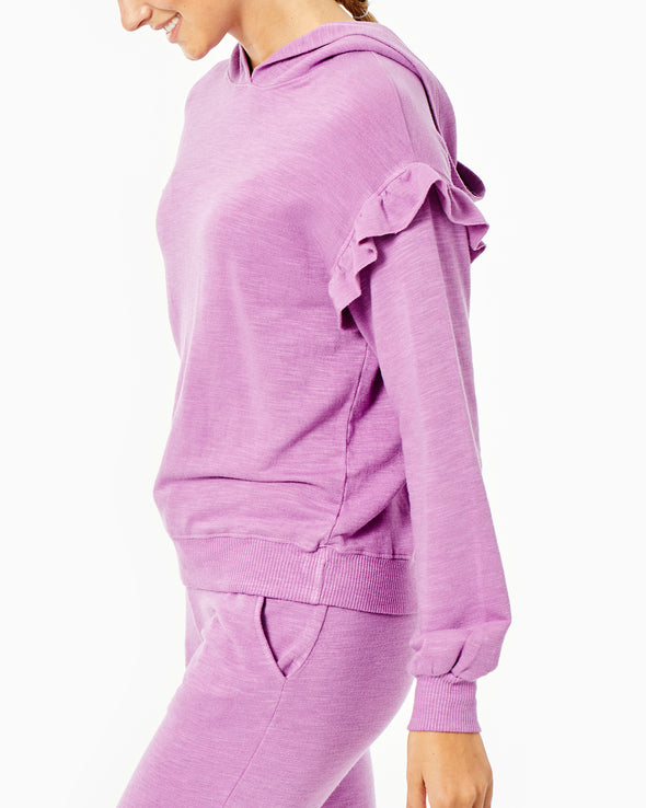 Supersoft Pullover Hoody with Ruffle Inset