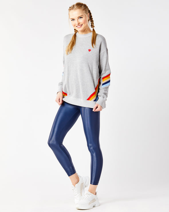 Heart Striped Crew Neck Sweatshirt
