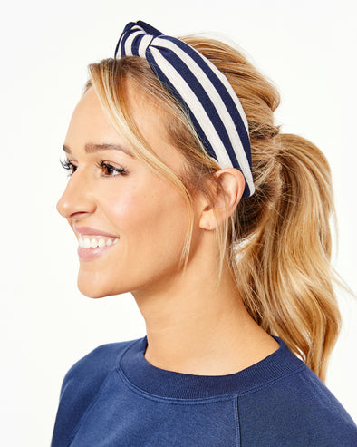 Knit Striped Knotted Headband