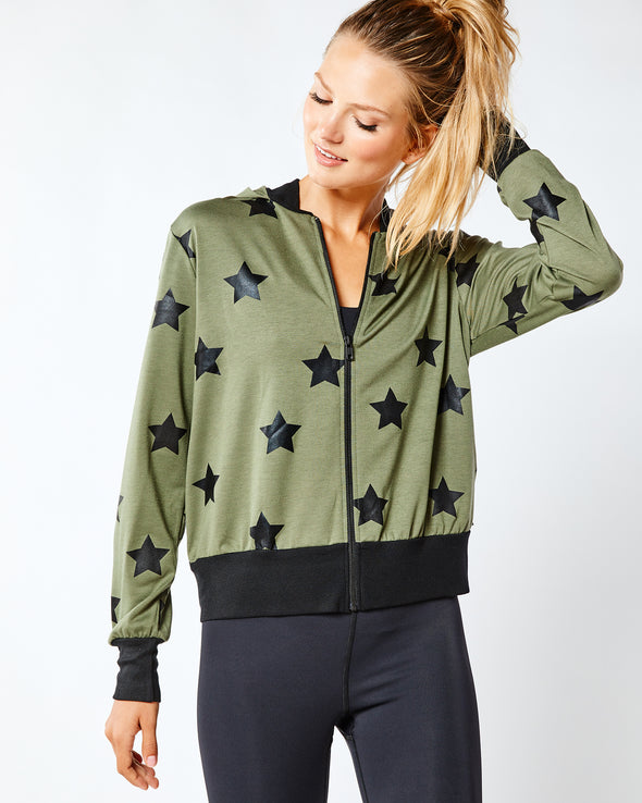 Army Green Foil Printed Bomber