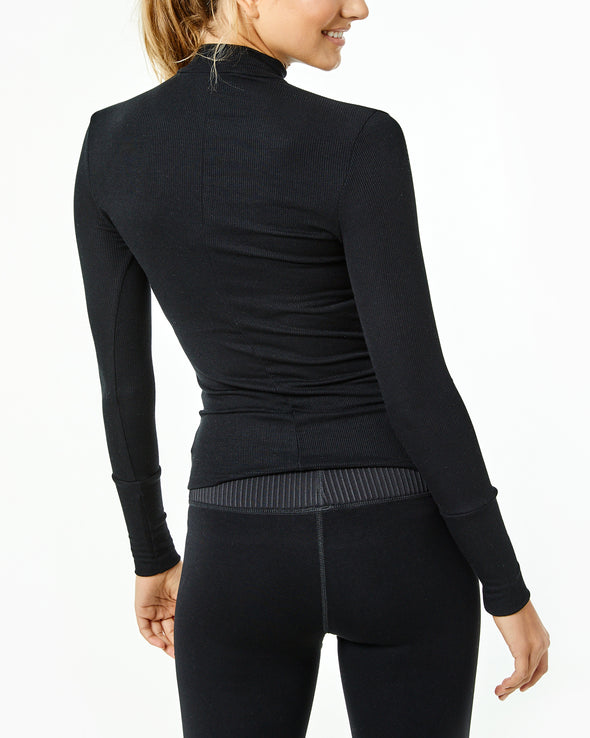 Black Ribbed Mock Neck