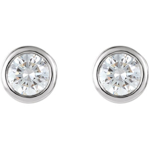 Platinum 1/2 CTW Bezel Set Friction Post Stud Earrings