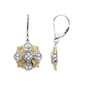 Diamond Fashion, Earrings, Diamond Earrings, Drops/Dangles, 14K White & Yellow
