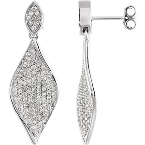 Diamond Fashion, Earrings, Diamond Earrings, Drops/Dangles, 14K White