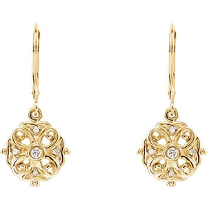 Diamond Filigree Dangle Lever Back Earrings