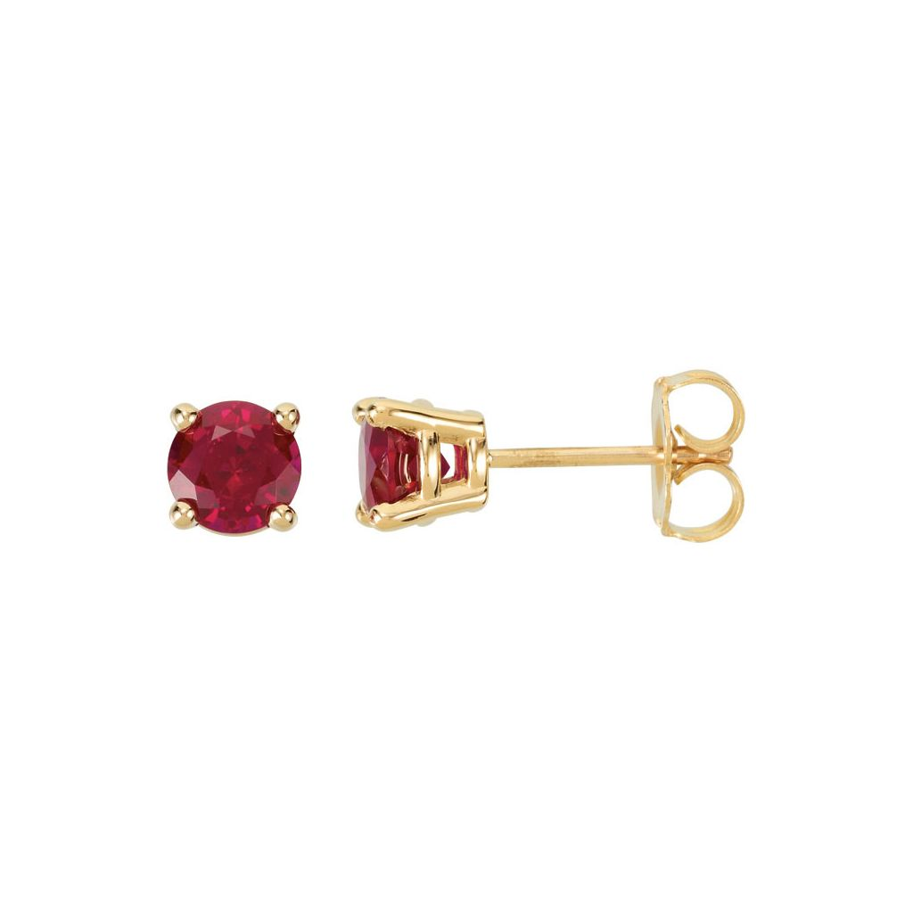 a5ee683bc 14K Yellow Gold 5mm Round Chatham® Created Ruby Friction Post Stud ...