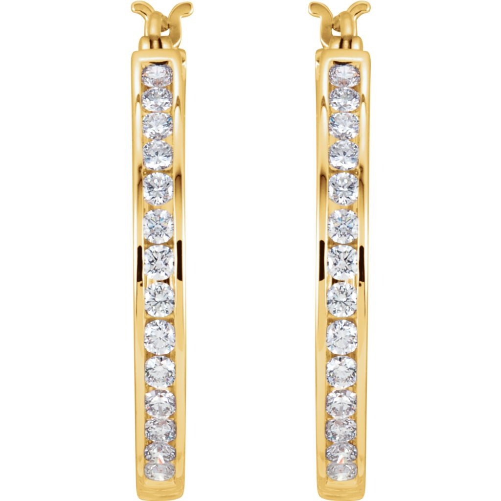 Diamond Fashion, Earrings, Diamond Earrings, Hoops, 14K Yellow