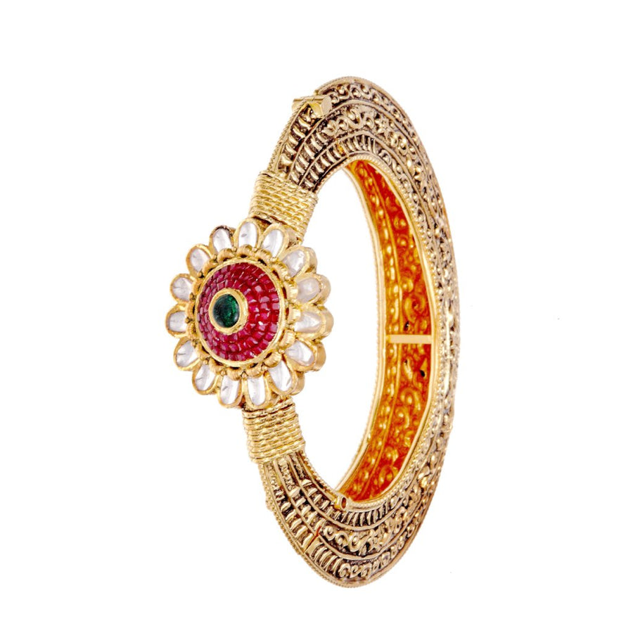 Rajistani kada made in 22k gold with Rubies & Kundan in antique finish.