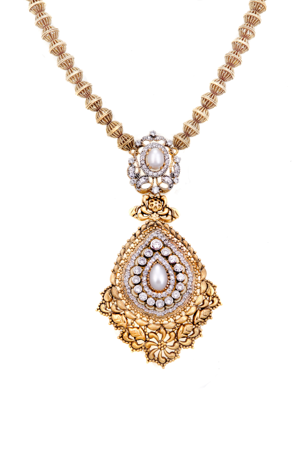 Handcrafted 22k gold necklace set with pearls and cubic zirconia, finished in antique polish.